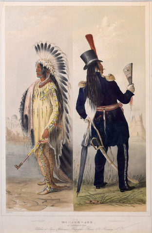 "George Catlin (1796-1872), ""Wi-jun-jon, an Assineboin Chief. Going to Washington; Returning to his home."""