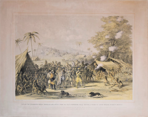 George Catlin (1796-1872), Catlin the Celebrated Indian Traveller and Artist Firing his Colt's Repeating Rifle Before a Tribe of Carib Indians in South America