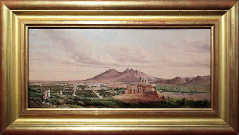 Conrad Wise Chapman(1842-1910), VIEW OF MONTERREY, FROM THE CERRO DEL CHIPINQUE: Palacio del Obispado, Monterrey valley.