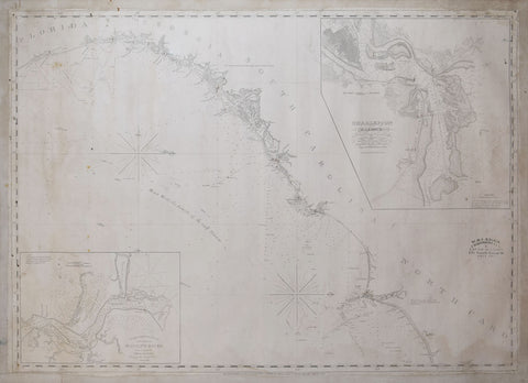 Edmund & George WIlliam Blunt, [Coastal Chart of North Carolina, South Carolina, Georgia, and Florida, with insets of the Harbor of Charleston and entrance to the Saint Johns River ]