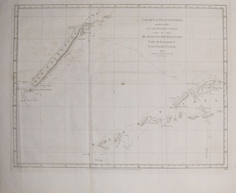 Capt. James Cook (1728-1779), Chart of the Discoveries made in the South Pacific Ocean…