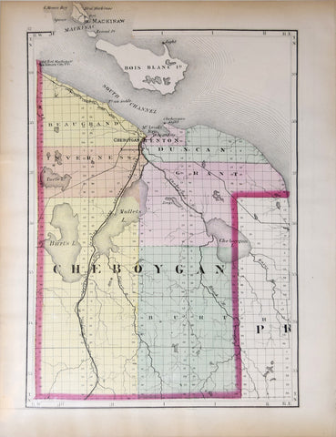 Henry Francis Walling (1825-1888), Map of Cheboygan County, Michigan