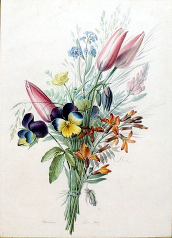 Augustine Chierriat (French, FL. 1820-1840), Bouquet of Tulips, Violets and Other Flowers