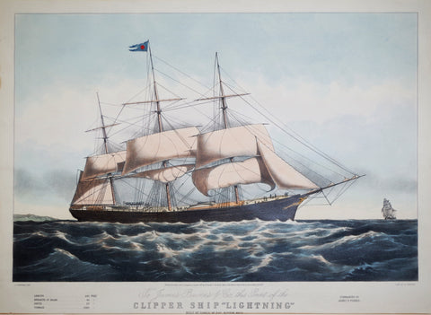 "Nathaniel Currier (American, 1813-1888), after Charles Parsons (Anglo-American, 1821-1910), Clipper Ship ""Lightning"""