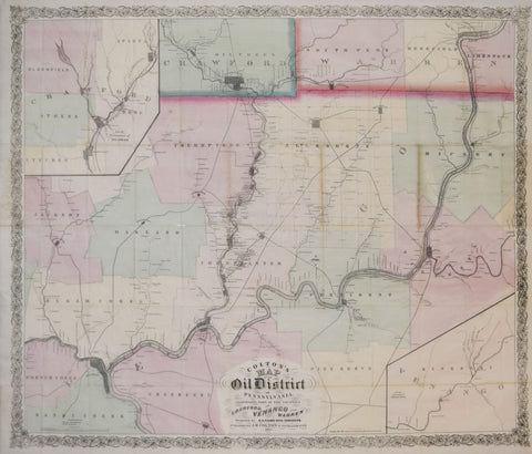 Joseph Hutchins Colton (1800-1893), Colton's Map of the Oil District of Pennsylvania..Counties of Crawford, Venango and Warren