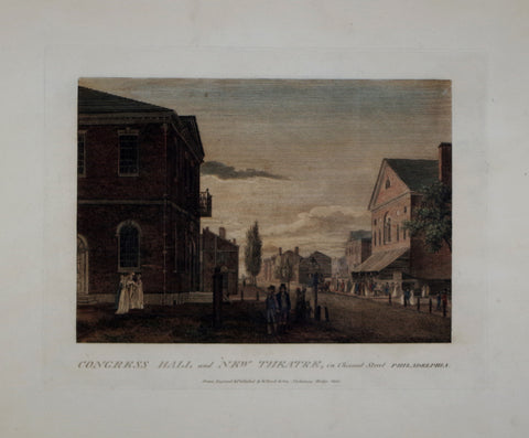 William Birch (1755-1834), Congress Hall and New Theatre, in Chesnut Street, Philadelphia