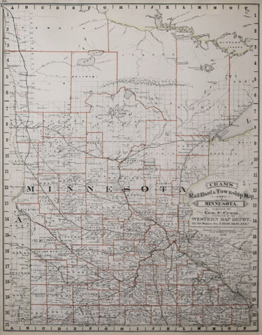 George F. Cram (1841-1928), Cram's Railroad & Township Map of Minnesota...