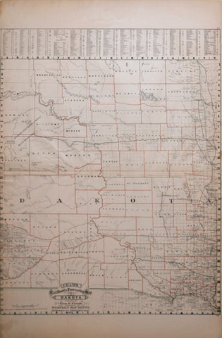 George F. Cram (1841-1928), Cram's Railroad & Township Map of Dakota