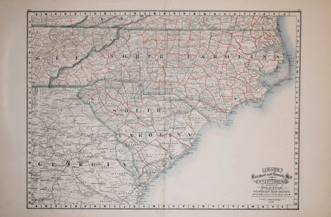 George F. Cram (1841-1928), Cram's Railroad and County Map of Nth. & Sth. Carolina