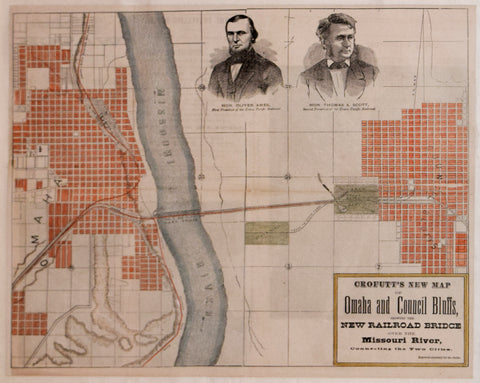 George A. Crofutt, Crofutt's New Map of Omaha and Council Bluffs Showing the New Railroad Bridge over the Missouri...