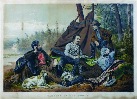 Nathaniel Currier (1813-1888) & James Ives (1824-1895) , Camping in the Woods, Laying Off