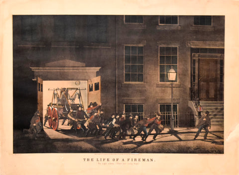 "Nathaniel Currier (1813-1888) & James Ives (1824-1895), The Life of a Fireman: The Night Alarm ""Start Her Lively Boys"""