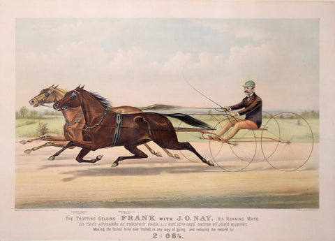 Nathaniel Currier (1813-1888) & James Ives (1824-1895), The Trotting Gelding Frank with J. O. Nay, His Running Mate