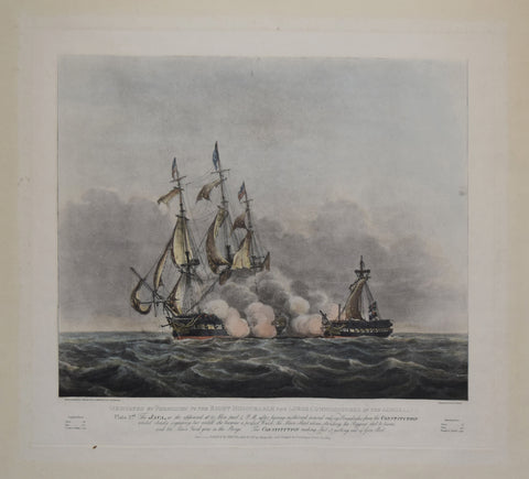 Nicholas Pocock (1740-1821), after, Plate 2. The Java, as she appeared at 35 min. past 4, PM after having sustained several raking broadsides from the Constitution...
