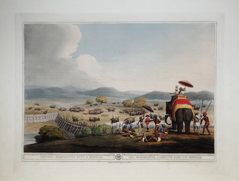 Thomas Williamson (1758-1817) and Samuel Howitt (1765-1822), Driving Elephants into a Keddah