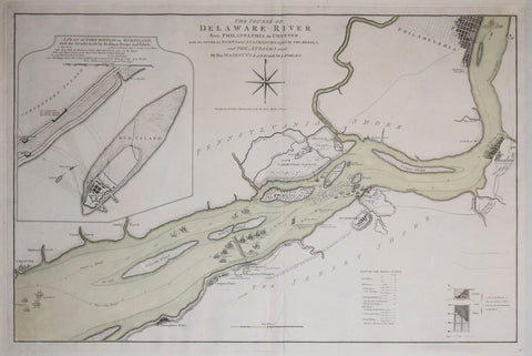 William Faden (1750-1836),  The Course of the Delaware River from Philadelphia to Chester…