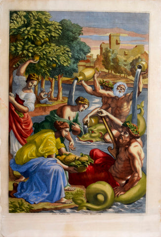 Giovanni Battista Ferrari (c. 1582 – 1655), editor, The Hesperides bring the first lemons to the god of Lake Garda