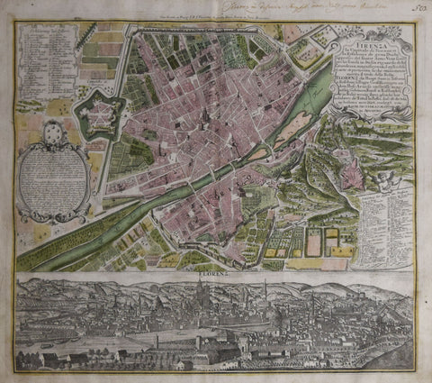 George Matthaus Seutter (1678-1757), Firenze…[Map and View of Florence]