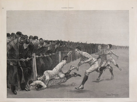 Frederic Remington, Harper's Weekly  Foot-Ball a Collision at the Ropes...