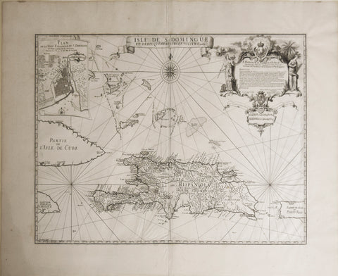 Amedee Francois Frezier (1682-1773), Isle de S. Domingue et Debouquemens Circonvoisons [and inset plan], Plan de la Ville Espagnole de S. Domingue [Haiti and Dominican Republic]