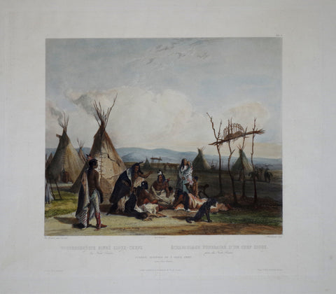Karl Bodmer (1809-1893), Funeral Scaffold of a Sioux Chief
