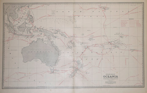 Andrew Garran (1825-1901), editor, Outline Map of Oceania Showing Routes of Early Discoveries