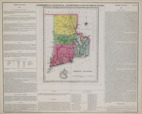 Henry C. Carey (1793-1879) & Isaac Lea (1792-1886), Geographical, Statistical and Historical Map of Rhode Island