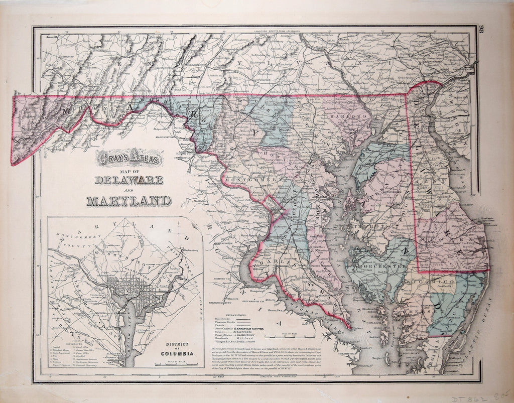 O.W. Gray, Gray's Atlas Map of Delaware and Maryland [with inset map of The  District of Columbia]