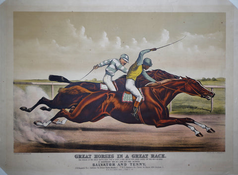 Nathaniel Currier (1813–1888) and James Merritt Ives (1824–1895), Great Horses in a Race...Salvator & Tenny...