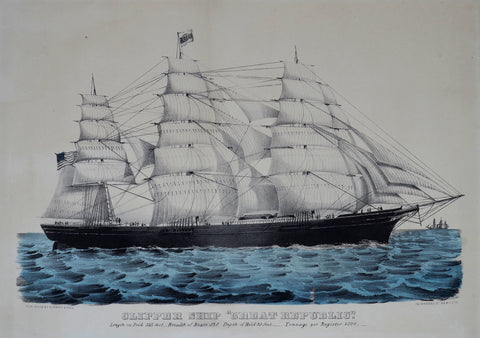 "Nathaniel Currier (1813-1888) & James Ives (1824-1895), Clipper Ship ""Great Republic"": Length on Deck 325 Feet.- Breadth of Beam 53 Feet.- Depth of Hold 39 Feet.-Tonnage per Register 4500"