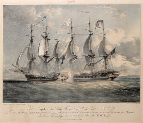 Louis Haghe (1806-1885), after John Christian Schetky (1778-1874), [Battle Between the U.S. Frigate Chesapeake and H.M.S. Shannon.]