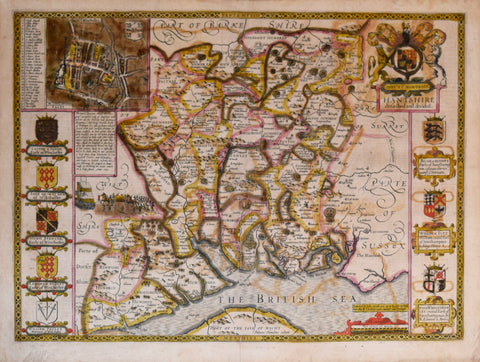 John Speed (1552-1629), Hantshire described and divided (Hampshire)