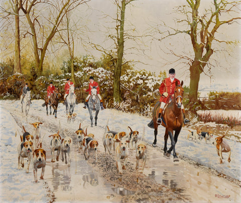 R. Harvey A Pair: Setting off on a Winter's Day & On a Lane in Winter