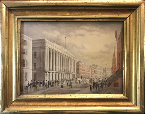 Attributed to John Hill (American, 1770-1850), Wall Street Watercolor and pencil on paper