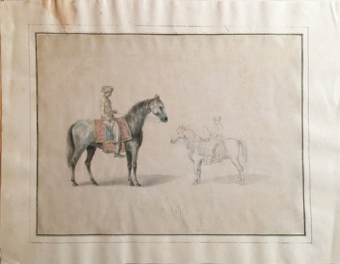 COMPANY SCHOOL (NINETEENTH-CENTURY) [A Study of Two Horse and Their Riders]