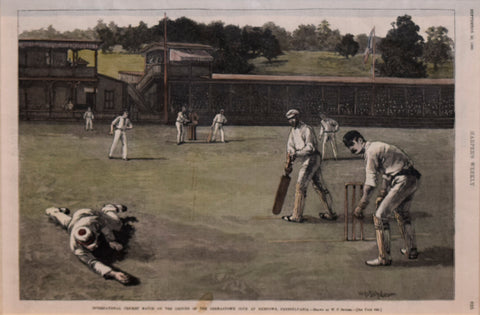 Drawn by W.P. Snyder , International Cricket Match at the Ground of the Germantown Club at Nicetown