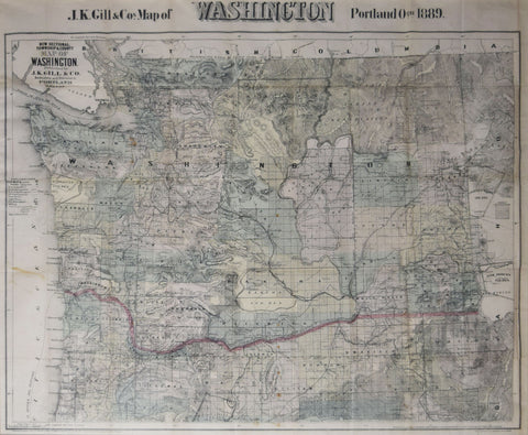 J.K. Gill & Co., New Sectional, Township & County Map of Washington