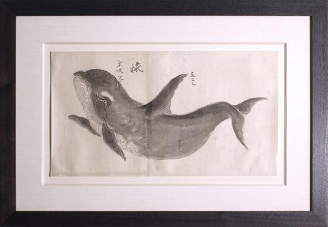 Japanese Whale Watercolor, Shachi / Killer Whale