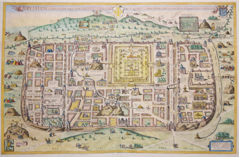 Christian Van Adrichom (1533-1585),  Jeruslam, et Suburbia eius…[Jerusalem at the time of Christ]