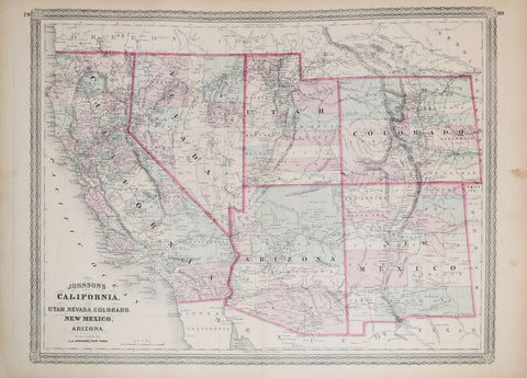 Map Of Arizona To Mexico.A J Johnson California Utah Nevada Colorado New Mexico And Arizona