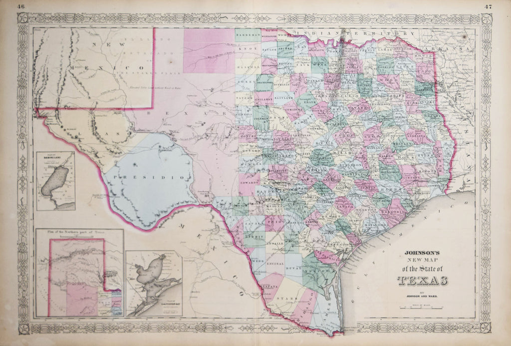 New Map Of Texas.A J Johnson New Map Of The State Of Texas