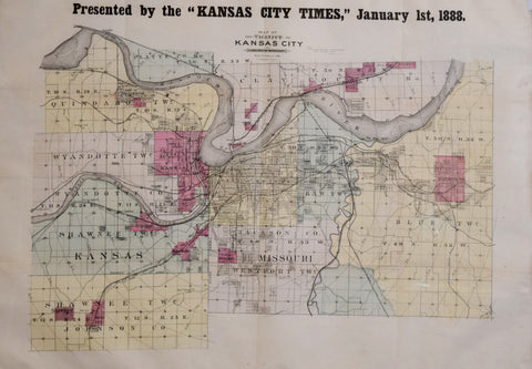 Kansas City Times,  Map of the Vicinity of Kansas City...Presented by the Kansas City Times, January 1st, 1888