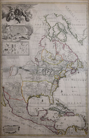 George Willdey (1695- c. 1733) ,   To His Sacred and Most Excellent Majesty George by the Grace of God King of Great Britain France and Ireland. This Map of North America…