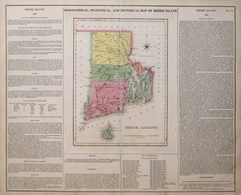 Henry Charles Carey (1793-1879) & Isaac Lea  (1792–1886),  Geographical, Historical and Statistical Map of Rhode Island