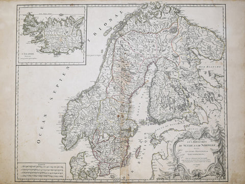 Giles Robert de Vaugondy (1688-1766), Les Royaunes de Suede et de Norwege divises en leurs Provinces ou Governemens... [with inset map of L'Islande...]