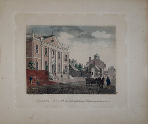 William Birch (1755-1834), Library and Surgeon Hall, in Fifth Street Philadelphia
