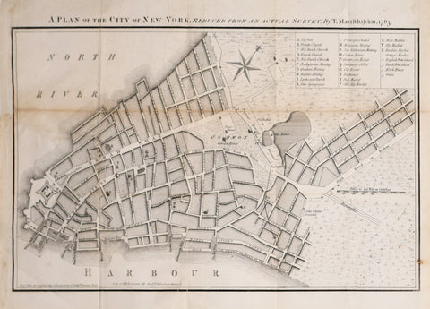 Francis W. Maerschalck, after and D.T. Valentine (1801-1869), A Plan of the City of New York, Reduced from an Actual Survey, T. Maerschalckm, 1763