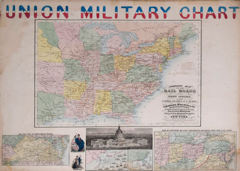 Charles Magnus (1826-1900), Lithographer, Union Military Chart. Complete Map of the Rail Roads And Water Courses in the United States & Canada