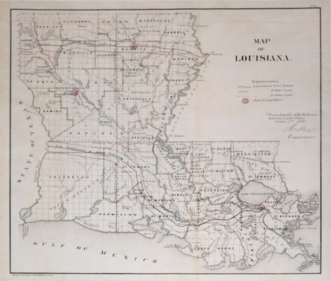Department of the Interior, General Land Office, Map of Louisiana