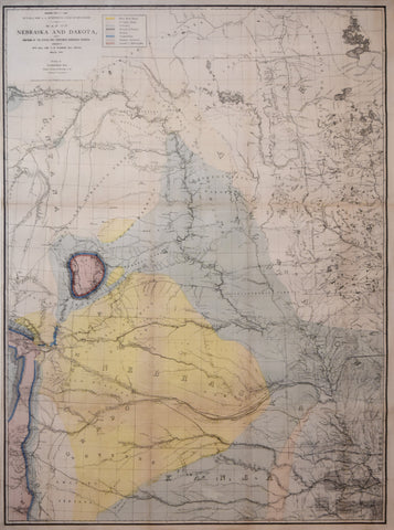 G.K. Warren  (1830-1882)  Map of Nebraska and Dakota